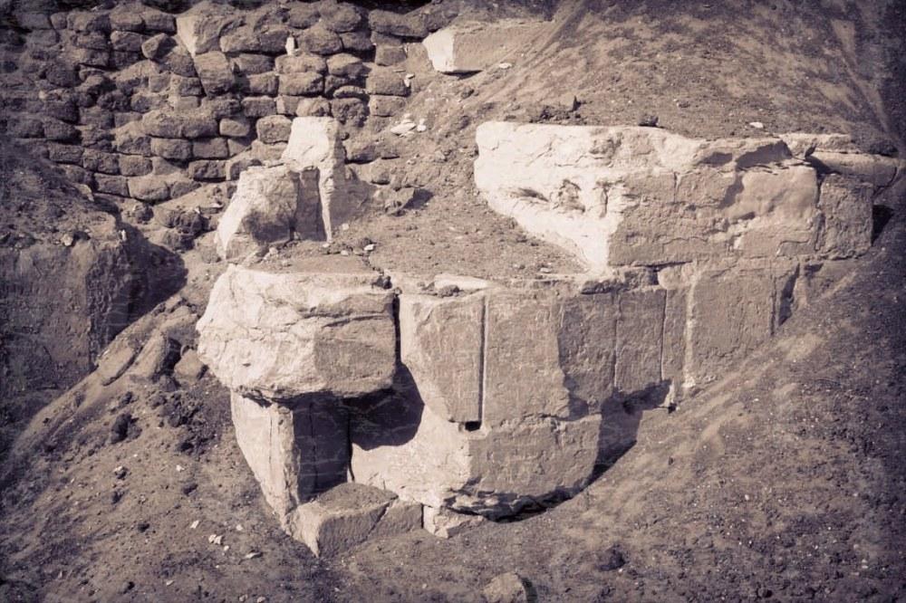 K.O. Eklund archives. Base of pyramid at Hawara. Taken 1917